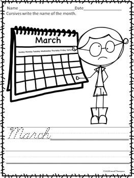 Cursive Writing: Calendar Names of Months and Days (Worksheets)