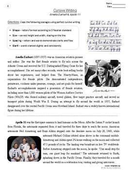 Cursive Writing | 22 Printable Handwriting Prompts | Leaders & Heroes (Gr. 3-7)
