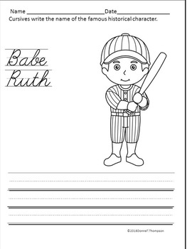 Cursive Writing: Names of Famous Historical Characters (Worksheets)