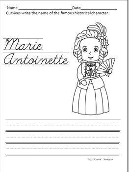 Cursive Writing: Handwriting Practice (Names of Famous Historical Characters)