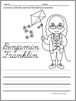 Cursive Writing: Names of Famous Inventors (Worksheets)