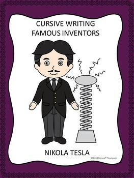 Cursive Writing: Names of Famous Inventors (No Prep Worksheets)