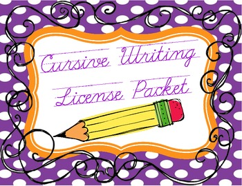 Cursive Writing License Pack with Permit and Application