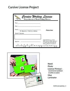 Cursive Writing License Template