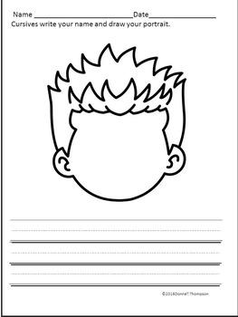 Cursive Writing: Name and Drawing Portrait (No Prep Worksheets)