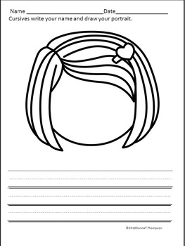 Cursive Writing: Name and Drawing Portrait (Worksheets)