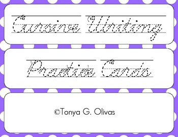 Cursive Writing Practice Cards