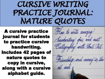 Cursive Writing Practice Journal: Nature Quotes