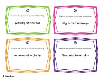 Cursive Writing Task Cards - Set of 40