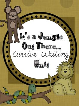 Cursive Writing Unit It's a Jungle Out There *Bonus* Cursive Alphabet Line