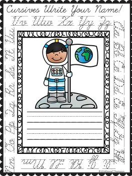 Cursive Writing: Astronauts (No Prep Worksheets)