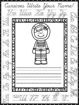 """Cursive Writing """"Astronauts Write Your Name"""" (Worksheets)"""