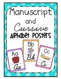 Cursive and Manuscript Alphabet Posters {Bright Polka Dot}