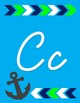 Cursive and Print Alphabet - Nautical Anchor Theme with colorful arrows
