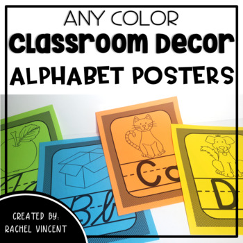 Cursive and Print Alphabet Posters - Any Color Classroom Decor