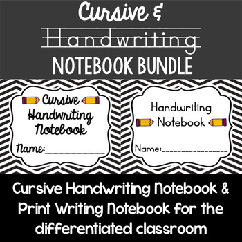 Cursive and Print Handwriting Notebook Bundle - 2 resources to improve writing