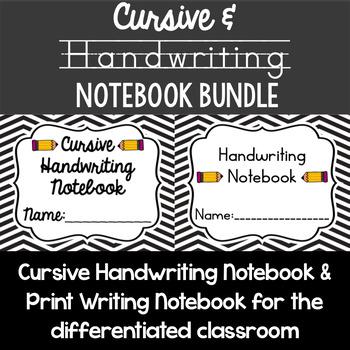 Cursive and Print Handwriting Notebook Bundle - 2 resource