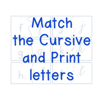 Cursive and Print Letters Matching Puzzles