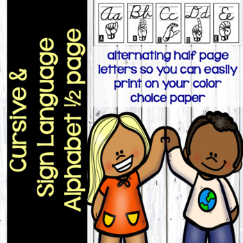 Cursive and Sign Language Alphabet (Postable)