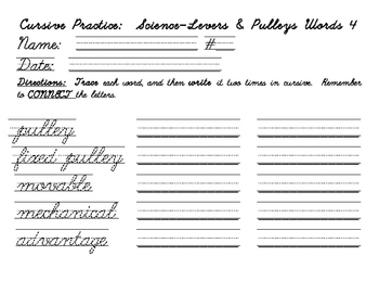 Cursive practice with levers and pulleys vocabulary