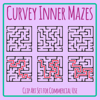 Curved Interior Mazes with Solutions Clip Art Set for Commercial Use