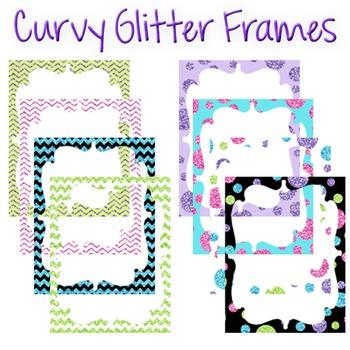 Digital Curvy Frames: Glitter Mix