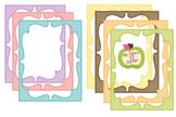 Digital Curvy Frames: Pastel Striped