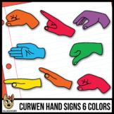 Curwen Hand Sign Clip Art: 6 Colors Sets