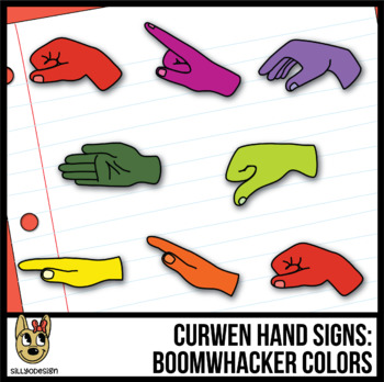 Curwen Hand Sign Clip Art: Boomwhacker Colors