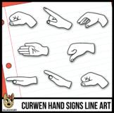 Curwen Hand Sign Clip Art, Line Art