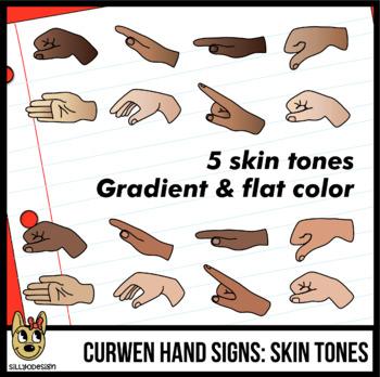 Curwen Hand Sign Clip Art, Skin Tones