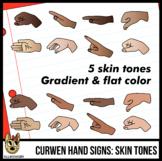 Curwen Hand Sign Clip Art, Diverse Skin Tones Clip Art