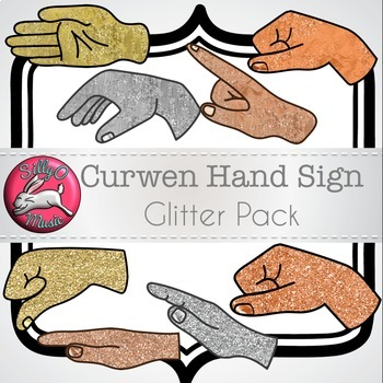 Curwen Hand Sign Glitter & Gold Clip Art