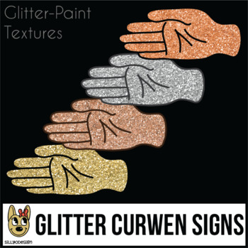 Curwen Hand Sign Glitter & Gold Clip Art