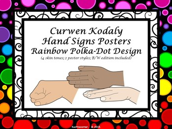 Curwen Hand Sign Posters - Rainbow Polka Dot PDF Edition