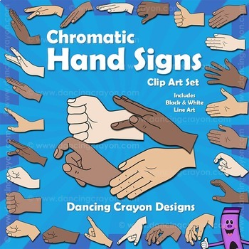 Kodaly / Curwen Hand Signs - Chromatic (Kodaly Hand Signs) Clipart