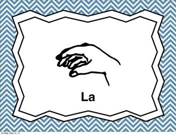 Curwen Hand Signs with Chevron Background