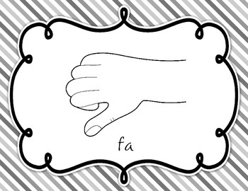 Curwen Solfege Hand Signs {Striped Background}