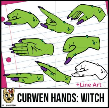 Curwen Witch Hand Sign Clip Art with Line Art