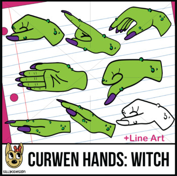 Curwen Witch Hand Sign Clip Art with Line Art