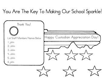 Custodian Appreciation poster and worksheet