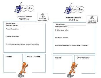 Custodian Comment/Work Order form