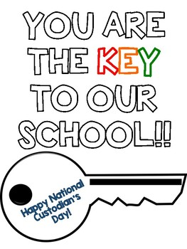 Custodian Day Bulletin Letters & Craftivity Keys