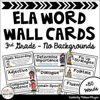 ELA Word Wall Vocabulary Cards (3rd Grade - No Backgrounds)