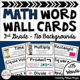 Math Word Wall 3rd Grade - Editable - No Backgrounds