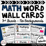 Math Word Wall 3rd Grade - Editable - No Backgrounds