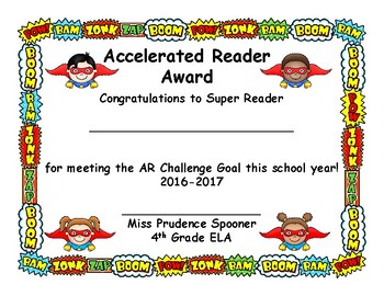 Custom AR Certificates, Superhero Design, for Miss Spooner