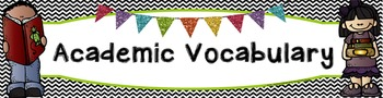 Custom Academic Vocabulary Black White Chevron Word Wall Banner