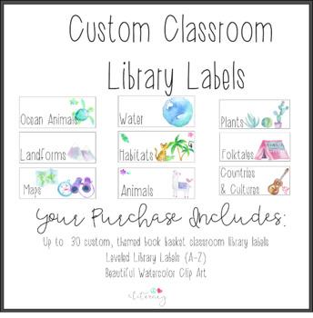 Custom Book Basket Labels -  Classroom Library Labels: Watercolor Art