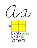 Custom Border 3rd Grade Math Alphabet Cursive